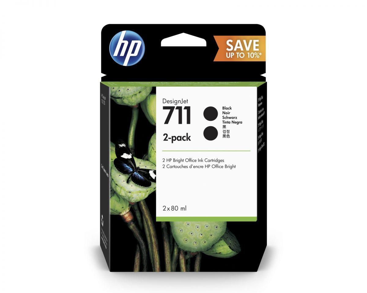 No. 711 Black Ink Cartridge – 80ml – 2 Pack